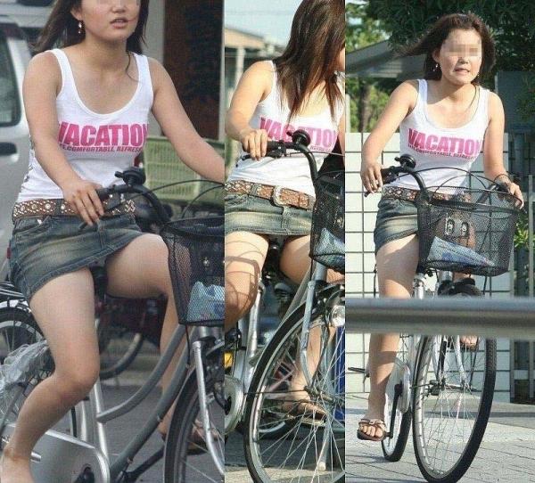 自転車パンチラ画像 28