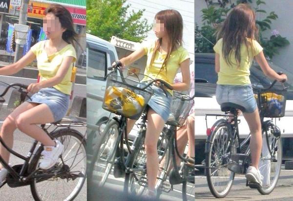 自転車パンチラ画像 33