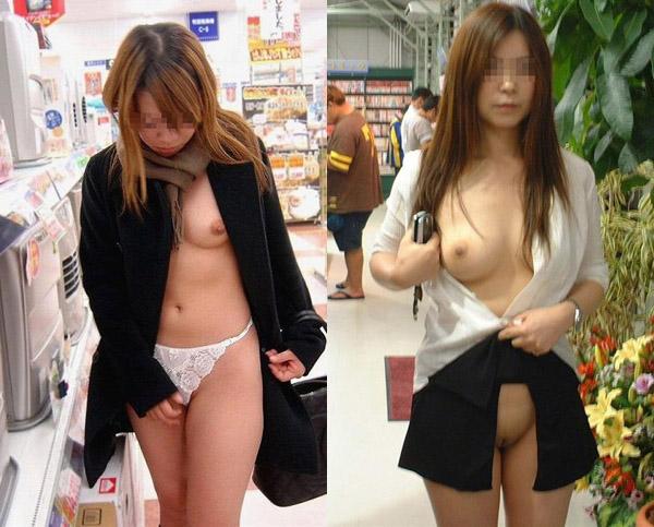 【投稿21人】マジやべぇーwww店内で超綺麗な娘達の裸露出が流行ってる