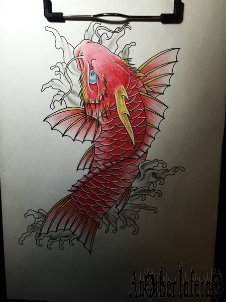 名古屋 栄 タトゥー 刺青 龍魚 鯉 和彫り