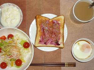 ブルーベリージャムトースト,サラダ,目玉焼き,オリゴ糖入りヨーグルト,コーヒー