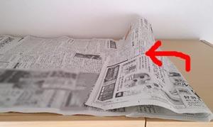 新聞紙を捨てるa