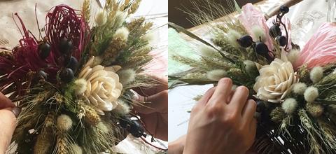小麦と粟の壁掛けバスケット