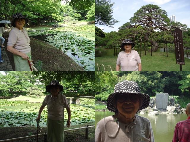 小石川後楽園にて母