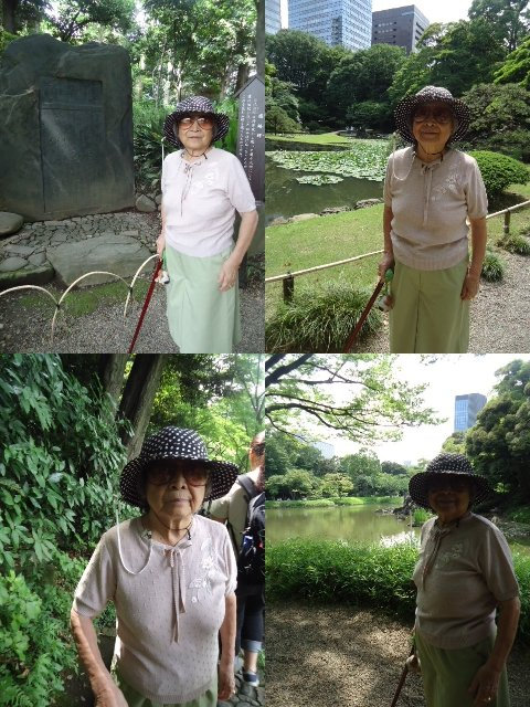 小石川後楽園にて母2