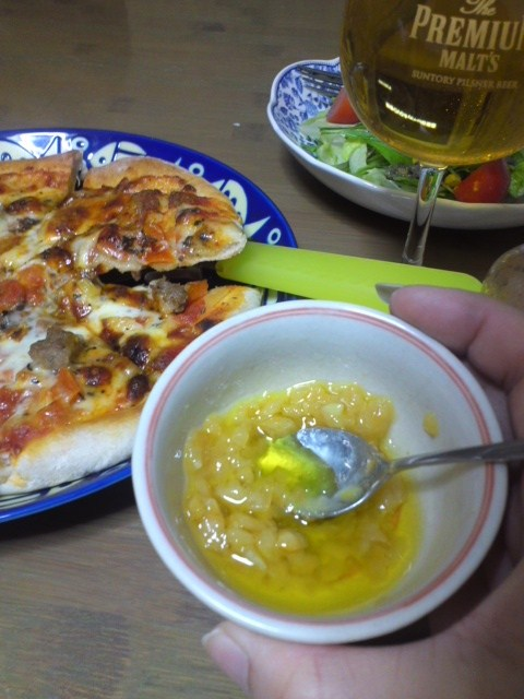 塩レモンとピザ