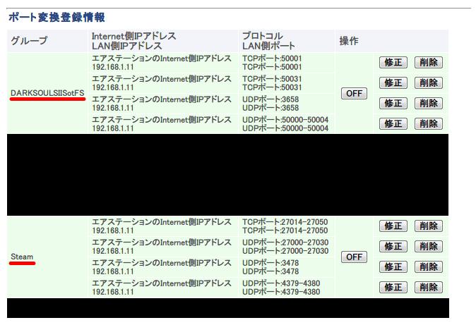 Steam と PC 用 DirectX 11 対応版 DARK SOULS II SCHOLAR OF FIRST SIN のポート設定(ポート変換、ポートフォワーディング)設定画面 Buffalo AirStation HighPower Giga WZR-S900DHP
