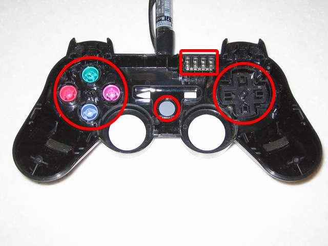 DS3 Dualshock3 デュアルショック3 Wireless Controller Black CECHZC2J A1 組み立て作業、コントローラー本体にプラスチックボタンとポートランプ取り付け