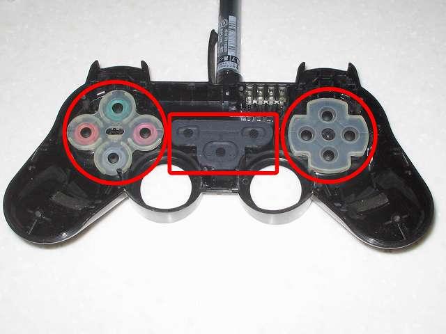 DS3 Dualshock3 デュアルショック3 Wireless Controller Black CECHZC2J A1 組み立て作業、プラスチックボタンをコントローラー本体にセットした後、ラバーパッド取り付け