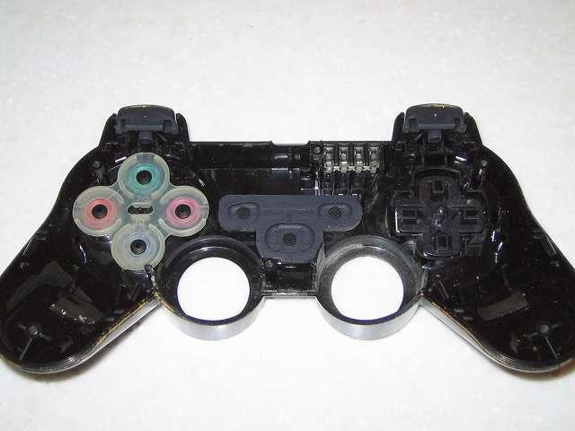 DS3 Dualshock3 デュアルショック3 Wireless Controller Black CECHZC2J A1 コントローラー本体上部プラスチックカバーと各種ボタンパーツとラバーパッド