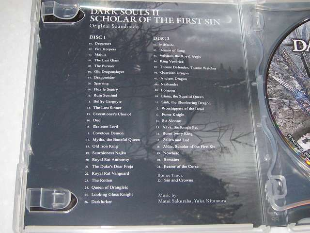 PC 用 DirectX 11 対応版 DARK SOULS II SCHOLAR OF FIRST SIN (数量限定特典同梱) パッケージ版 Original Soundtrack (オリジナルサウンドトラック) Disc 1 と 2 の BGM タイトル名
