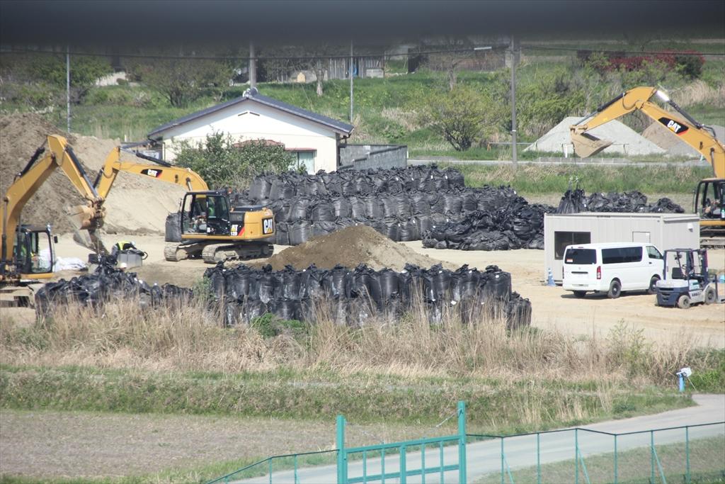 程なく除染土の一時置き場の状況が見えてきた
