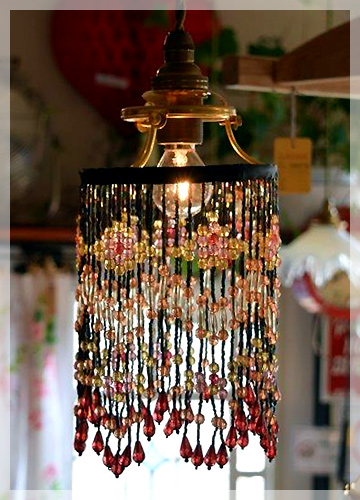 ビーズ ランプ シェード