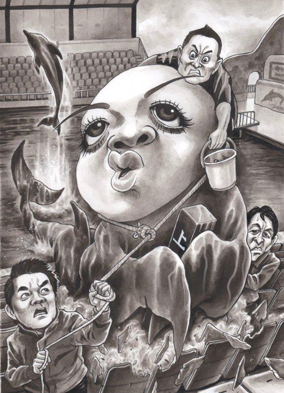 上西小百合 橋下徹 松野頼久 風刺漫画