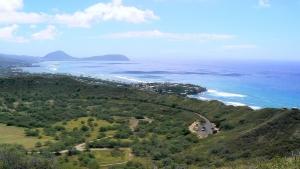 ダイヤモンドヘッドからみたハワイカイ方面の景色